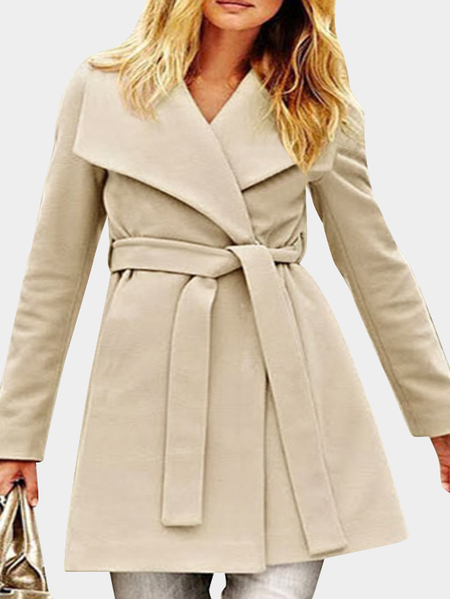 Khaki Lace-up Lapel Collar Long Sleeves Long Trench Coat
