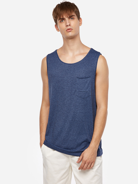 Blue Solid Color Round Neck Sleeveless Basic Style Men's Tank