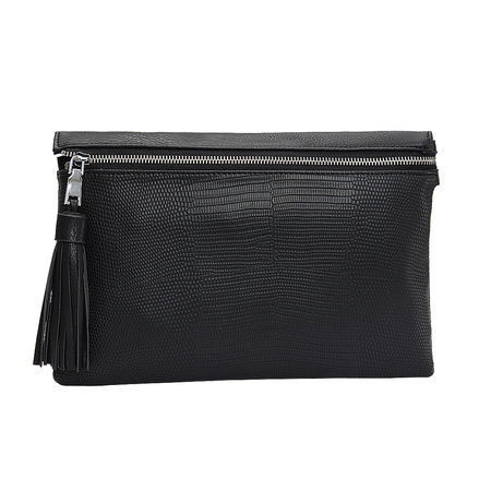 Black PU Clutch Bag In Snake Pattern