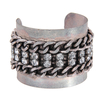 Grey Chain Cuff with Rhinestone Detail