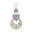 Colorful Diamond Long Necklace