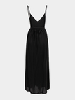 Black Plunge Backless Cami Maxi Dress