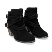 Black Double Buckle Strap Short Boots