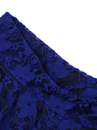 A-line Floral Print Lace Skirt In Blue