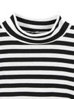 Stripe Crop Top With Crew Neckline