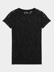 Black Hollow Out T-Shirt With Short Sleeve