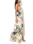 Random Leaf Print Cami Maxi Dress With Sash