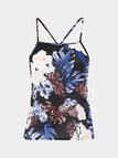 Cropped Tie Back Cami Top In Floral Print