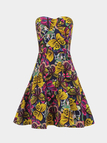 Bandeau Floral Print Dress With Yellow Butterfly Print