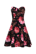 Black Bandeau Swing Dress With Red Rose Print