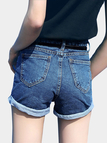 Deep Blue High-Rise Waist Cuffed Denim Shorts