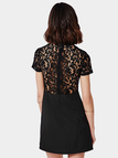 Black Lace Splice Mini Dress