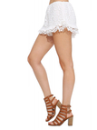 Chic White Hook Flower Hollow Out Shorts With Mesh Details