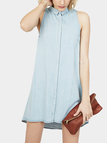 Denim Sleeveless Shirt Dress