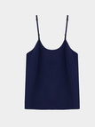 Navy Double Layer Embraidered Cami Top