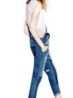 Blue Distressed Fell Length Denim Dungaree
