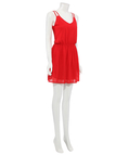 Red Spaghetti Strap Pleated Chiffon Dress