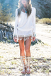 White Long Sleeve Fringed Dress