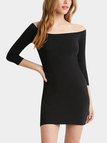 Black Wide Neck Bodycon Dress