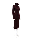 Dark Red Roll Neck Knitted Dress with Pockets