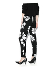 Black Trousers with White Floral Print