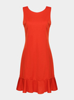Red Pleated Dress With Flouncing Hem