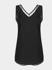 Black Vest With Mesh Splicing V-neck