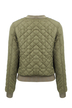 Army Green Quilted Fashion Jacket with Ribbed Collar