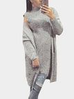 Light Grey Knit Crew Neck Two Piece Suits