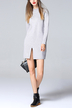 Grey High Neck Front Split Shift Sweater Dress