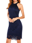 Navy Lace Details Halter Sleeveless High-waisted Dress
