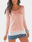 Pink Scoop Neck Patchwork Splited Hem Thin Sweaters