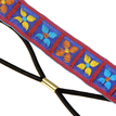 Clover Ethnic Embroidered Tape Headband in Blue