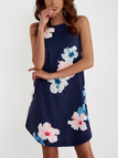 Navy Random Floral Print Sleeveless Mini Dress