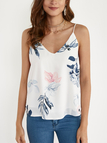 Random Floral Print V-neck Cami Top in White