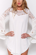Chiffon Dress with Lace Insert and Flared Sleeves