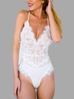 White Sexy V-neck Lace Design Teddy with Random Lace Pattern