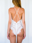 White Sexy V-neck Lace Design Bodysuit with Random Lace Pattern