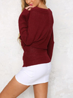 Burgundy Sexy Off-shoulder Wrapped Sweater