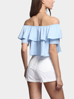 Light Blue Fashion Off Shoulder Crop Top