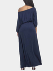 Navy Off Shoulder Round Neck Maxi Dress with Sash-tie