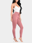 Pink High-waisted Elastic Pencil Pants with Lace-up Front Design