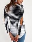 Black & White Stripe Pattern Elbow Patches Round Neck Long Sleeves T-shirt