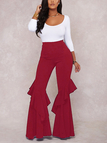 Burgundy Tiered Design Wide Leg Trousers