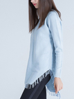 Side Split High Low Hem Jumper with Tassel Details