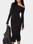 Black Single Breasted Off Shoulder Casual Midi Bodycon Dress