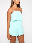 Off The Shoulder Playsuit with Layered Details in Light-blue