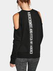 Black Cold Shoulder Letter Printed Sweatshirt