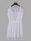 White Hollow Out Open Back Mini Dress with Crochet Lace Details