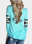Blue Floral Stitching Round Neck Long Sleeves T-shirt